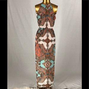 Sweet Storm Sz S Maxi Halter Dress Multi Color